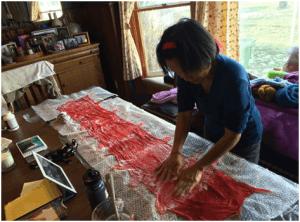 Making a silk scarf