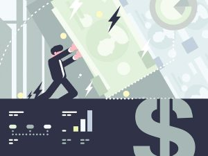 Abstract illustration of banker holding holding up a financial institution