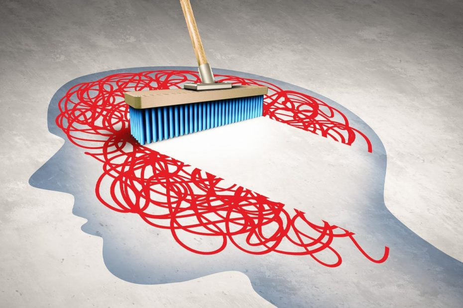 Illustration of a broom sweeping away an abstract representation of the mind inside the outline of a head.