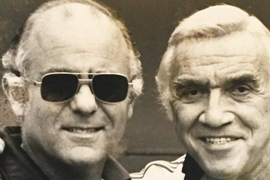 "Photo of David Mirisch (left) and Lorne Greene of ""Bonanza"""