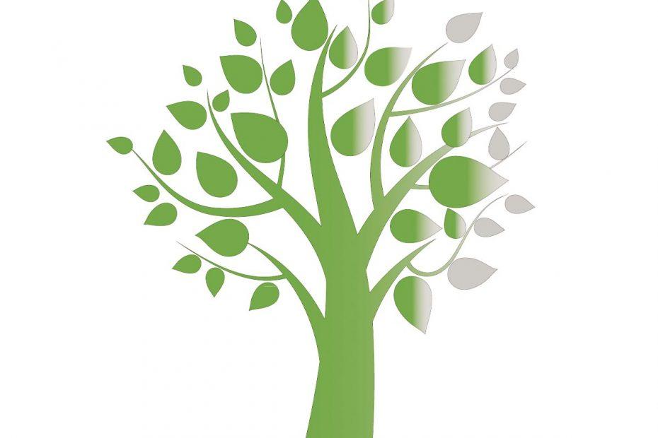 Illustration of green-leafed tree—Logo for MT Gerontology Society