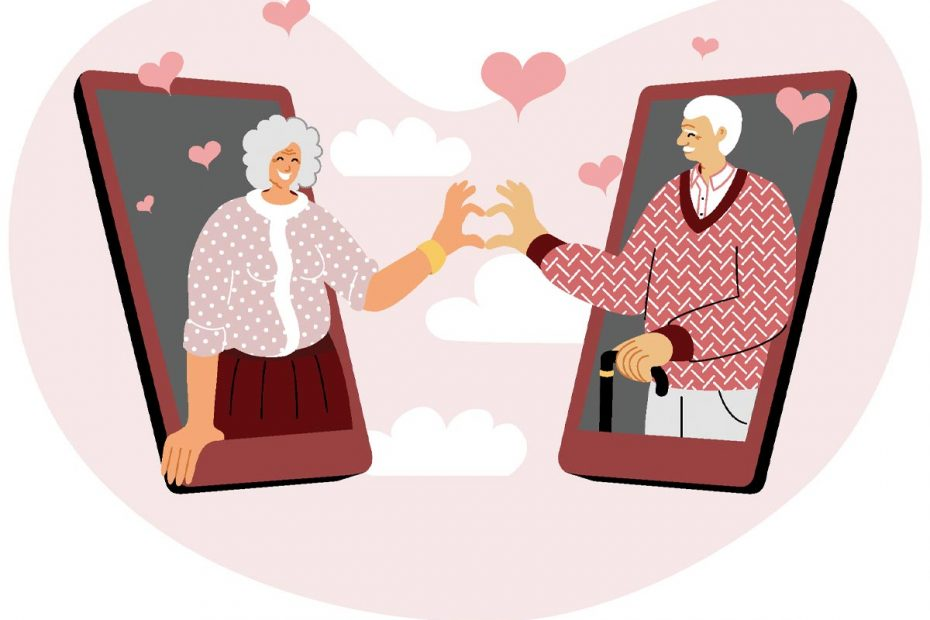 Illustration of senior man and woman in a dating app popping out of mobile device and forming a heart with their hands.