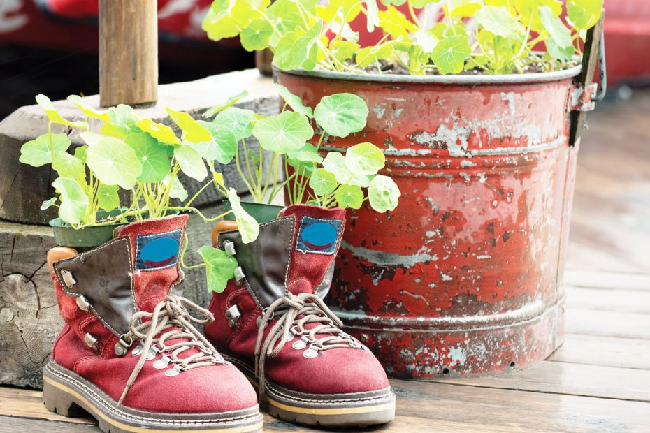 photo of the work of a venerable recycler: old red boots and pail repurposed as planters