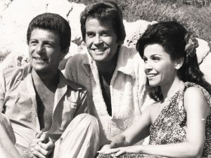 Photo of Annette Funiccello and Frankie Avalon with Dick Tracy
