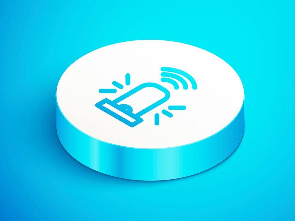 illustration of a button for medical alert systems on a blue background