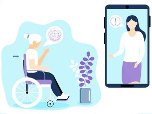 Illustration of a senior woman in a wheelchair talking to a female therapist on a cellphone screen
