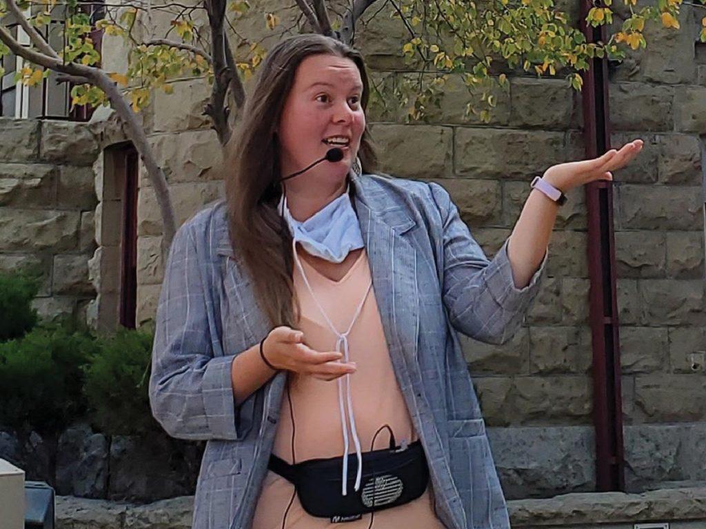 Woman leading an historical walking tour inBillings, Mont.