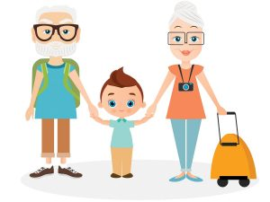 Illustration of grandparents standing with grandchild, getting ready to travel.
