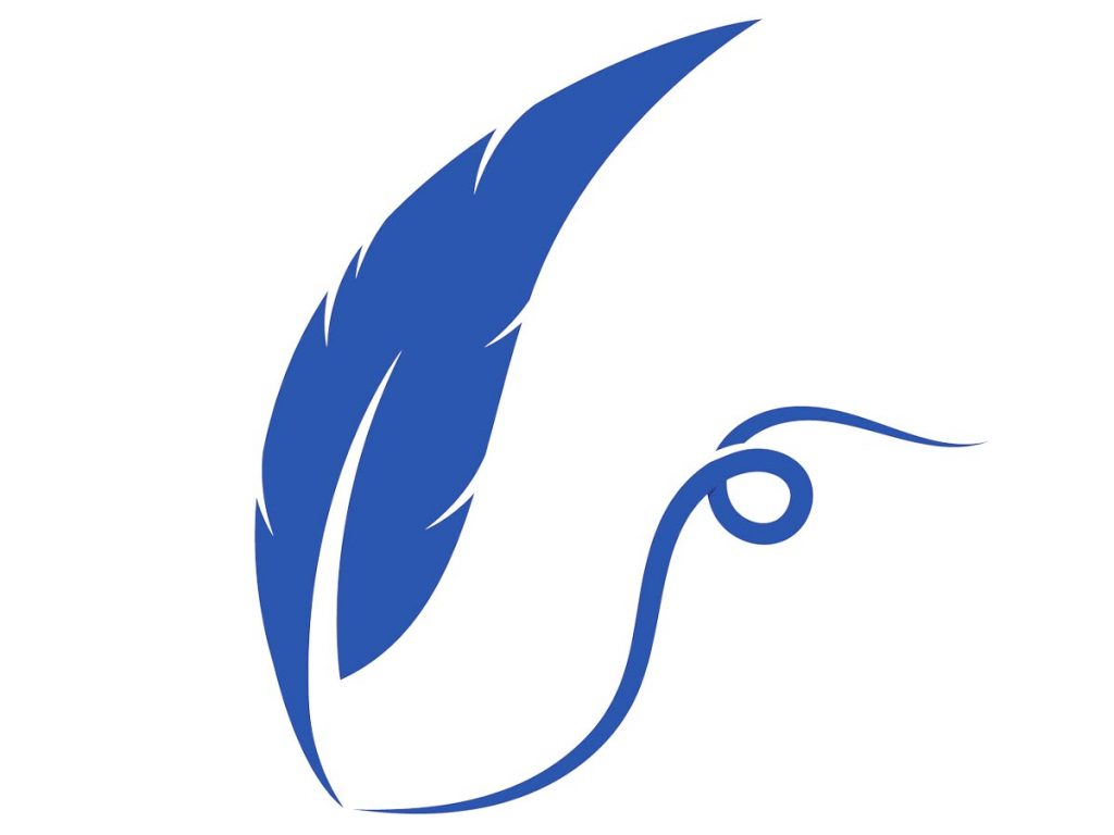 Blue illustration of a feather pen leaving a curving line