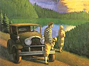 Illustration from the cover of the WPA Guide to 1930s Montana